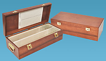 solid hardwood storage box for large glass slides