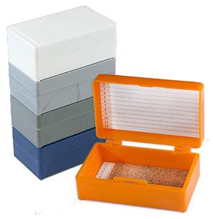 microscope slide boxes trays holders mailers dispenser jar