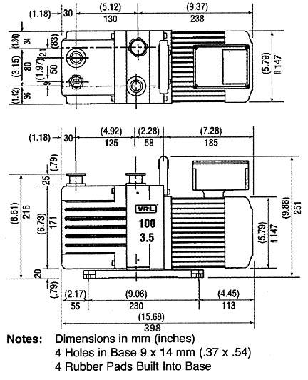 100-3.5 vacuum pump dimensions