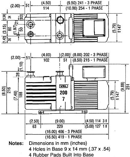 200-7 vacuum pump dimensions
