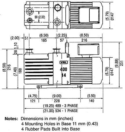 400-14 vacuum pump dimensions