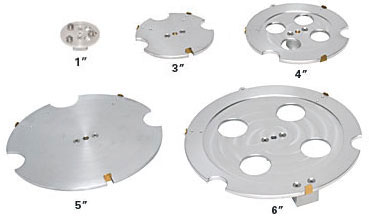 "Six wafer holders for diameters varying from 2""-8"""