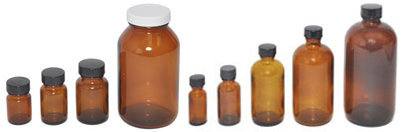 Bottles and Vials made from brown and clear Glass