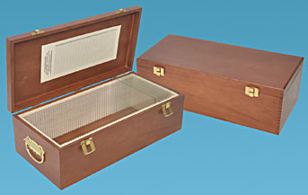 Hardwood storage box for large glass slides
