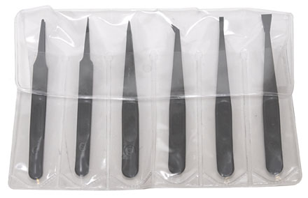 set of 6 PELCO SV Carbon Fiber Reinforced Tweezers