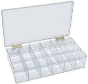 18-Compartment Styrene Box with metal hinges