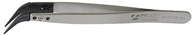 curved fine tip carbon tweezers, style 7